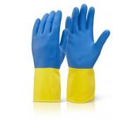 Bi Colour H/W Yellow/Blue Gauntlets