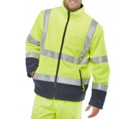Yellow/Navy Hi Vis Fleece Jacket - Various Sizes