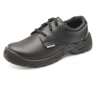 Black Smooth Leather Safety Tie Shoes - Various Sizes