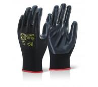 Black Nitrile Coated Palm and Finger Gloves - Various Sizes