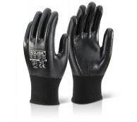 Black Fully Coated Nitrile Polyester Gloves - Various Sizes