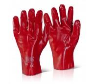 PVC Red Gauntlet Gloves