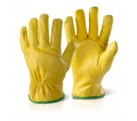 Yellow Fleece Lined Drivers Glove - Various Sizes