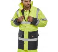 Hi Viz Yellow/Navy Heavyweight PVC Coated Jacket - Various Sizes