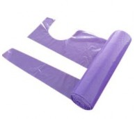 15 Micron Purple Disposable Aprons On a Roll - 117cm Long
