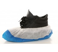 """16"""" White Antislip Disposable Overshoes with Blue embossed sole"""