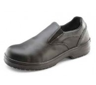 Ladies Slip On Black Leather Safety Shoe - Various Sizes