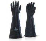 "17"" Black Gauntlet Rubber Gloves - Various Sizes"