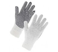 Large Knitted Mixed Fibre Seamless Gloves with PVC Dot Coated Palm