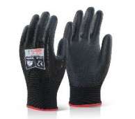 Black PU Coated Gloves - Various Sizes